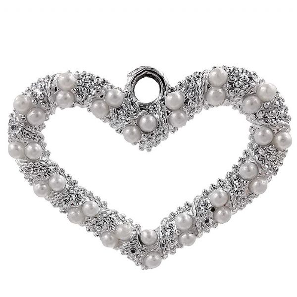 Rhodium Heart Charm w/  Glass Pearls 26x20mm